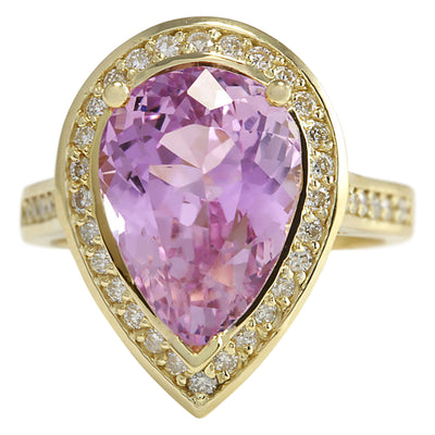 8.71 Carat Natural Kunzite 14K Yellow Gold Diamond Ring