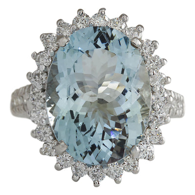 9.14 Carat Natural Aquamarine 14K White Gold Diamond Ring