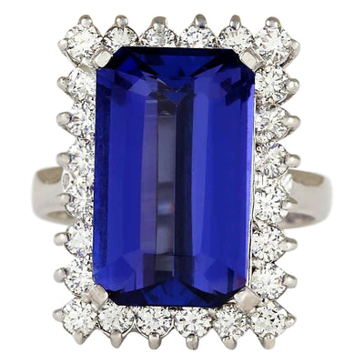 9.05 Carat Natural Tanzanite 14K White Gold Diamond Ring