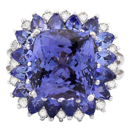 9.14 Carat Natural Tanzanite 14K White Gold Diamond Ring
