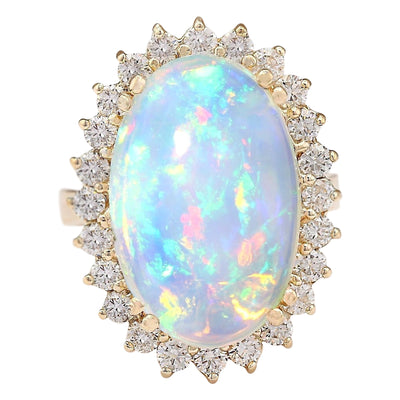 9.18 Carat Natural Opal 14K Yellow Gold Diamond Ring