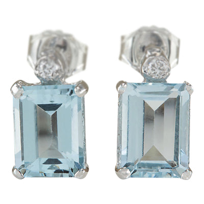 2.06 Carat Natural Aquamarine 14K White Gold Diamond Earrings - Fashion Strada