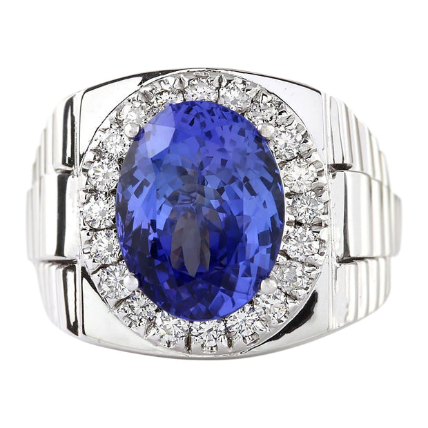 9.44 Carat Natural Tanzanite 14K White Gold Diamond Ring