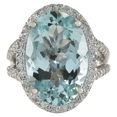 9.00 Carat Natural Aquamarine 14K White Gold Diamond Ring