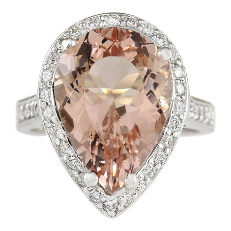 9.83 Carat Natural Morganite 14K White Gold Diamond Ring