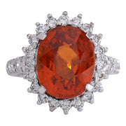 11.09 Carat Natural Mandarin Garnet 14K White Gold Diamond Ring