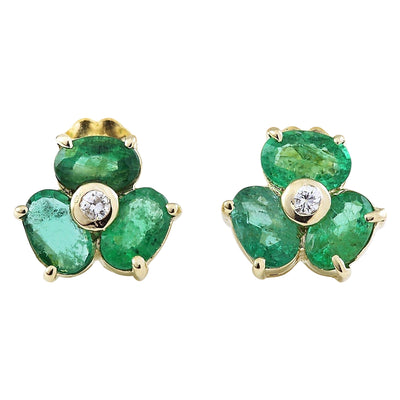 2.90 Carat Natural Emerald 14K Solid Yellow Gold Diamond Stud Earrings - Fashion Strada