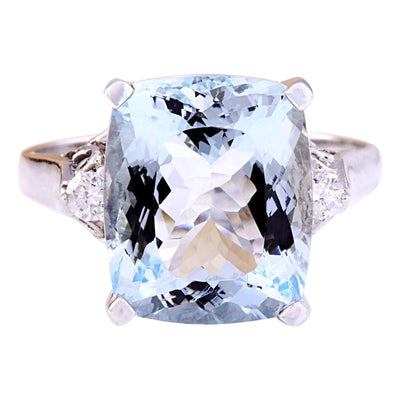 5.58 Carat Natural Aquamarine 14K Solid White Gold Diamond Ring - Fashion Strada