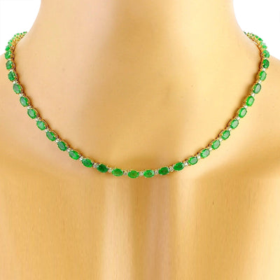 27.25 Carat Natural Emerald 14K Solid Yellow Gold Diamond Necklace
