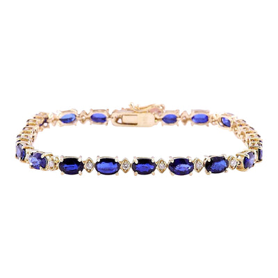 16.97 Carat Natural Sapphire 14K Solid Yellow Gold Diamond Bracelet