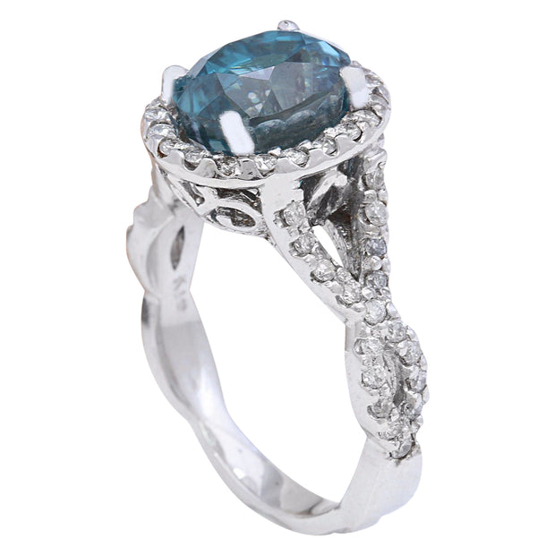 6.99 Carat Natural Zircon 14K Solid White Gold Diamond Ring - Fashion Strada