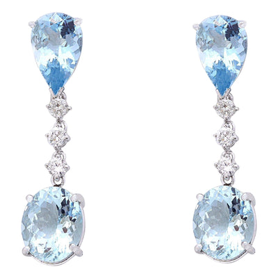 14.01 Carat Natural Aquamarine 14K Solid White Gold Diamond Earrings - Fashion Strada