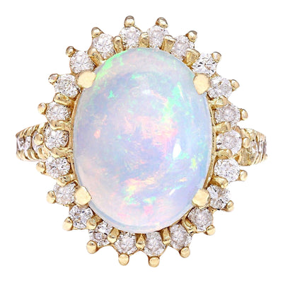 4.82 Carat Natural Opal 14K Solid Yellow Gold Diamond Ring
