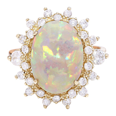 4.85 Carat Natural Opal 14K Solid Yellow Gold Diamond Ring