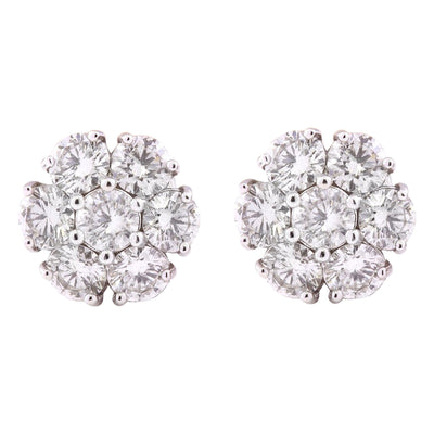 3.00 Carat Natural Diamond 14K Solid White Gold Earrings