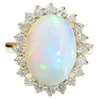 5.55 Carat Natural Opal 14K Solid Yellow Gold Diamond Ring