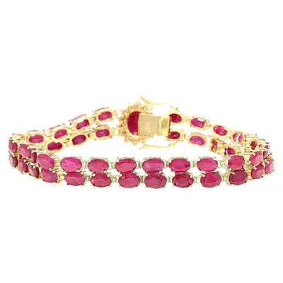 32.15 Carat Natural Ruby 14K Solid Yellow Gold Diamond Bracelet