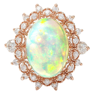 4.50 Carat Natural Opal 14K Solid Rose Gold Diamond Ring