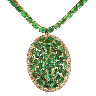 53.00 Carat Natural Emerald 14K Solid Yellow Gold Diamond Pendant Necklace