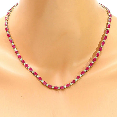 30.75 Carat Natural Ruby 14K Solid Yellow Gold Diamond Necklace