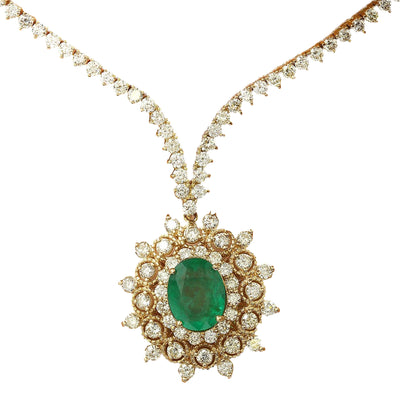 11.33 Carat Natural Emerald 14K Solid Yellow Gold Diamond Necklace