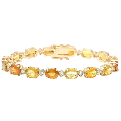 30.65 Carat Natural Sapphire 14K Solid Yellow Gold Diamond Bracelet - Fashion Strada