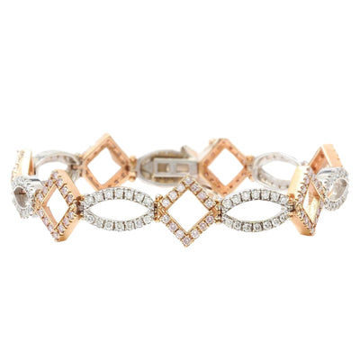 4.75 Carat Natural Diamond 14K Solid Two Tone Gold Bracelet