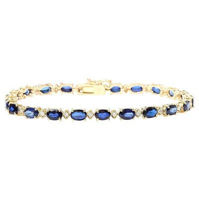 13.40 Carat Natural Sapphire 14K Solid Yellow Gold Diamond Bracelet