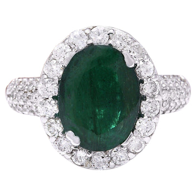 3.80 Carat Natural Emerald 14K Solid White Gold Diamond Ring - Fashion Strada