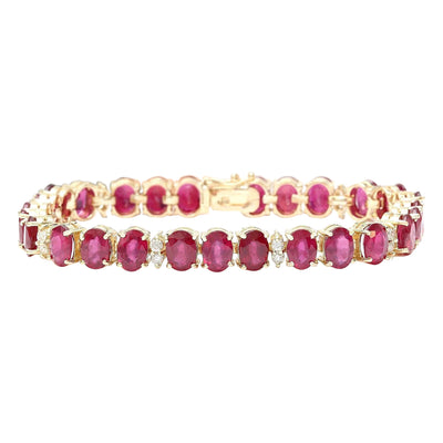 33.50 Carat Natural Ruby 14K Solid Yellow Gold Diamond Bracelet