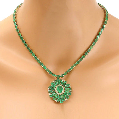 44.46 Carat Natural Emerald 14K Solid Yellow Gold Diamond Necklace