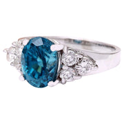 6.40 Carat Natural Zircon 14K Solid White Gold Diamond Ring - Fashion Strada
