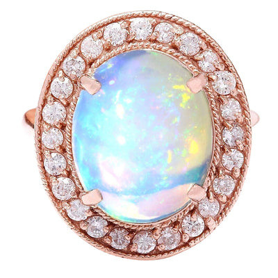5.30 Carat Natural Opal 14K Solid Rose Gold Diamond Ring