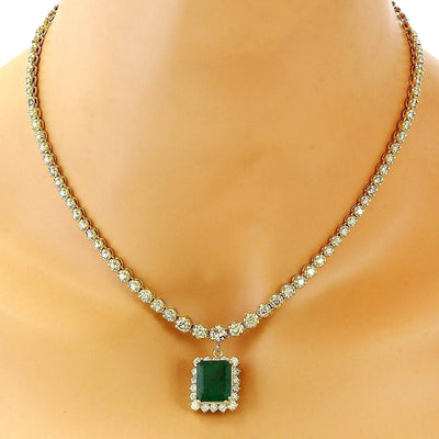 13.80 Carat Natural Emerald 14K Solid Yellow Gold Diamond Necklace
