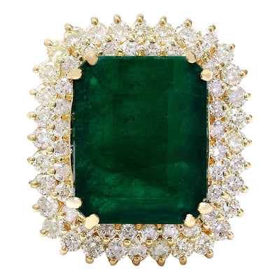 20.77 Carat Natural Emerald 14K Solid Yellow Gold Diamond Ring