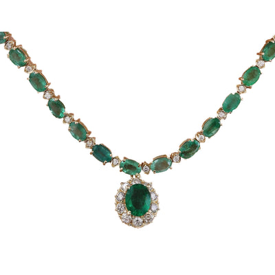29.75 Carat Natural Emerald 14K Solid Yellow Gold Diamond Necklace