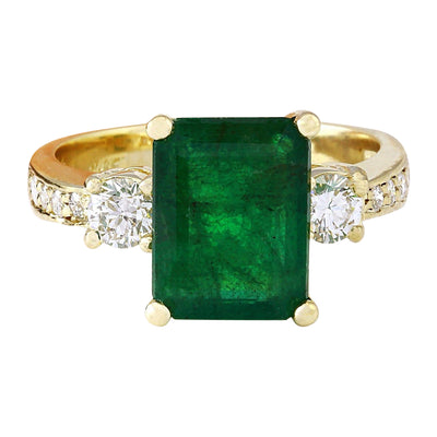 4.07 Carat Natural Emerald 14K Solid Yellow Gold Diamond Ring - Fashion Strada