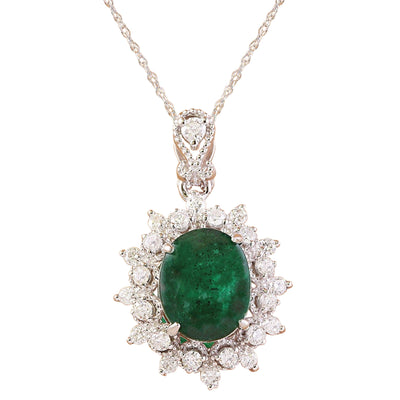 3.14 Carat Natural Emerald 14K Solid White Gold Diamond Pendant Necklace