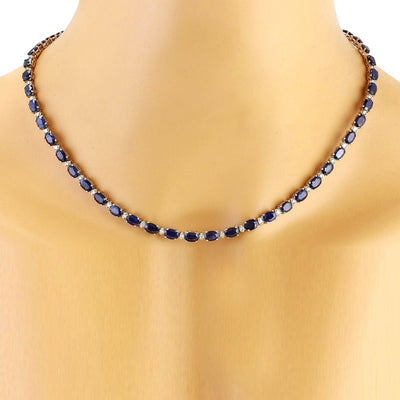 31.25 Carat Natural Sapphire 14K Solid White Gold Diamond Necklace