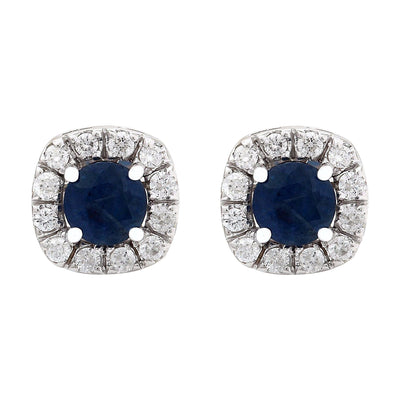 2.13 Carat Natural Sapphire 14K Solid White Gold Diamond Stud Earrings