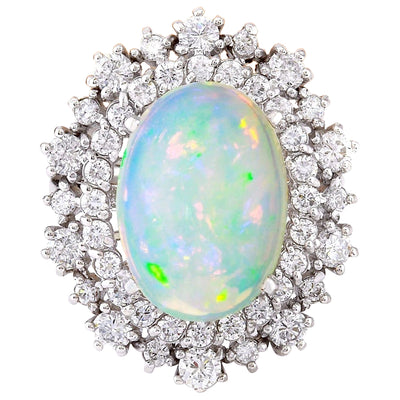 4.20 Carat Natural Opal 14K Solid White Gold Diamond Ring