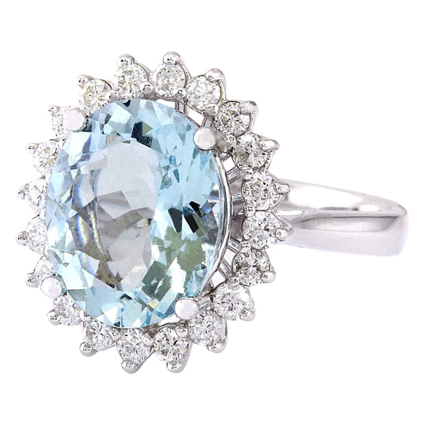 4.31 Carat Natural Aquamarine 14K Solid White Gold Diamond Ring - Fashion Strada