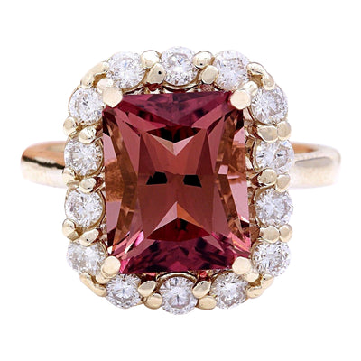 6.60 Carat Natural Tourmaline 14K Solid Yellow Gold Diamond Ring - Fashion Strada