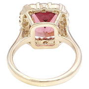 6.60 Carat Natural Tourmaline 14K Solid Yellow Gold Diamond Ring