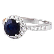 2.35 Carat Natural Sapphire 14K Solid White Gold Diamond Ring