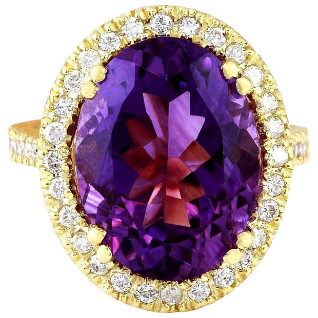9.10 Carat Natural Amethyst 14K Solid Yellow Gold Diamond Ring