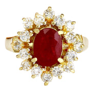 2.15 Carat Natural Ruby 14K Solid Yellow Gold Diamond Ring