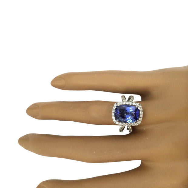 4.88 Carat Natural Tanzanite 14K Solid White Gold Diamond Ring