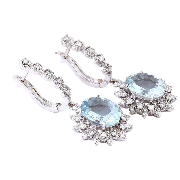 7.30 Carat Natural Aquamarine 14K Solid White Gold Diamond Earrings - Fashion Strada
