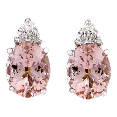 3.20 Carat Natural Morganite 14K Solid White Gold Diamond Earrings - Fashion Strada